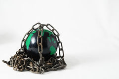 Earth globe close in chain. 3d... Stock Photo