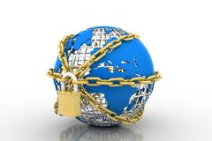 Earth globe close in chain and padlock Stock Photography