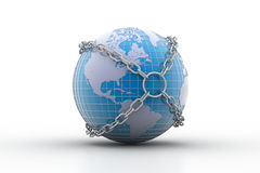 Earth globe close in chain Stock Photos