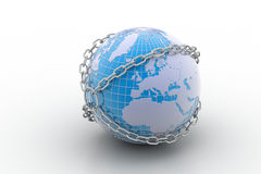Earth globe close in chain Stock Image