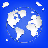 Earth globe from clouds. Royalty Free Stock Images