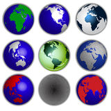 Earth globe collection Stock Images