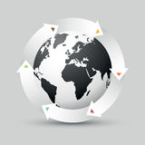 Earth globe with colored arrows. Simple modern earth globe with colored arrows Royalty Free Illustration
