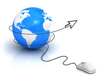 Earth globe and computer mouse Stock Images