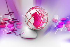 Earth globe with a computer mouse Stock Photos