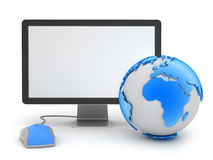 Earth globe, computer mouse and monitor. On white background vector illustration