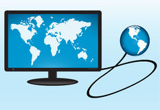 Earth globe connected to monitor Royalty Free Stock Image