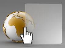 Earth globe and cursor hand. Abstract background - earth globe and cursor hand Royalty Free Stock Images