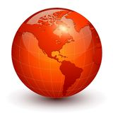 Earth globe 3D icon. Glossy red planet, vector illustration royalty free illustration