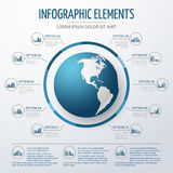 Earth globe 3D infographic template. World map with option numbers and charts for business Royalty Free Stock Images