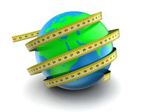 Earth globe 3d measure. 3d illustration of earth globe with ribbon meter, over white Royalty Free Stock Photo