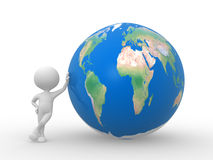 Earth globe. 3d people - man, person with Earth Globe Stock Photo