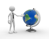 Earth globe. 3d people - man, person present a earth globe Stock Images