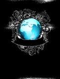Earth globe decorative art label Royalty Free Stock Photo