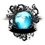 Earth globe decorative art label Stock Photography
