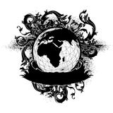 Earth globe decorative art label Royalty Free Stock Images
