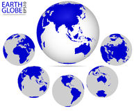 Earth globe. Different continents. Vector format of Earth Planet, fully editable, you can change form and color Royalty Free Stock Photo
