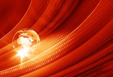 Earth globe with digital binary codes graphical red theme back. Ground, news technologies concept Stock Images