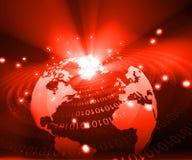 Earth globe  with digital fibers Stock Photography