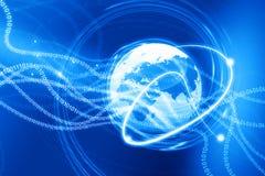 Earth globe with digital fibers. 3d render of Earth globe with digital fibers Royalty Free Stock Images