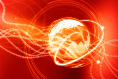 Earth globe with digital fibers Royalty Free Stock Photos