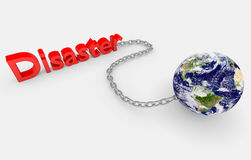 Earth globe and disaster sign Royalty Free Stock Photography