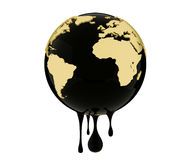 Earth globe dripping oil or diesel. 3d render, Earth globe dripping oil or diesel Royalty Free Stock Photos
