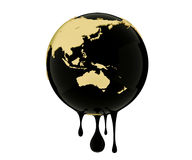 Earth globe dripping oil or diesel. 3d render, Earth globe dripping oil or diesel Royalty Free Stock Image