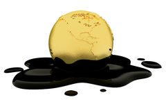 Earth globe dripping oil or diesel. 3d render, Earth globe dripping oil or diesel Royalty Free Stock Images