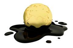 Earth globe dripping oil or diesel. 3d render, Earth globe dripping oil or diesel Stock Photos