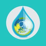 Earth globe in drop of water flat design vector. Icon Royalty Free Stock Photo