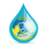 Earth globe in drop of water flat design. On white Stock Photo