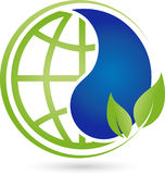 Earth globe with drops and leaves, ecology and earth logo. Earth globe with drops and leaves, colored, ecology and earth logo Royalty Free Stock Photography