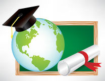 Earth globe education diploma and cap Royalty Free Stock Photography