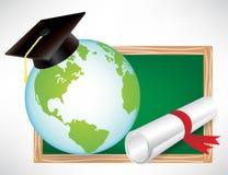 Earth globe education diploma and cap Royalty Free Stock Photography