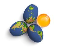 Earth globe eggs Royalty Free Stock Photography