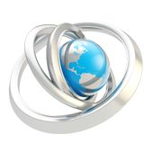 Earth globe emblem inside the ring torus isolated Royalty Free Stock Image