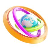 Earth globe emblem inside the ring torus isolated Royalty Free Stock Photo