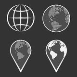 Earth Globe Emblem Set. Vector Stock Photography