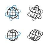 Earth Globe Emblem Set. Vector Stock Photography