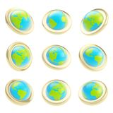 Earth globe emblem tag in nine foreshortening Stock Images