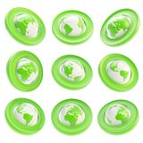 Earth globe emblem tag in nine foreshortening Royalty Free Stock Photography