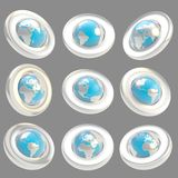 Earth globe emblem tag in nine foreshortening Royalty Free Stock Photo