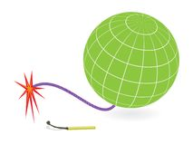 Earth globe and firing cord Royalty Free Stock Images