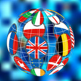 Earth globe with flags. Color 3D earth globe icon with world flags Stock Image