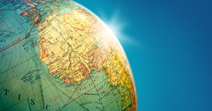 Earth globe with flare. Globe showing Africa with blue copy space Royalty Free Stock Photography