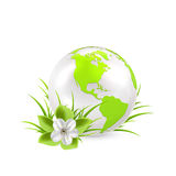 Earth globe with flower. And grass isolated on white background, illustration Stock Images