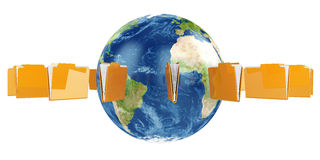 Earth globe with flying folders. 3d illustration of Earth globe with flying folders around Royalty Free Stock Image