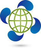 Earth globe and four water drops, energy and environmental logo. Earth globe and four water drops, colored, energy and environmental logo Royalty Free Stock Photos