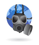 Earth globe with gas mask. Vector illustration of the earth wearing a gas mask, cool concept for environment, global warming, pollution and natural disasters Stock Image